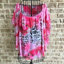 JM Collection Sz XL Top Layered Embellished Pink Animal Print Festive Flowers - $22.99