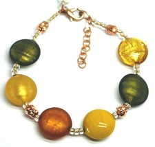 """BRACELET ORANGE GREEN YELLOW ROUNDED MURANO GLASS DISC, 19cm, 7.5"""", ITALY MADE image 1"""