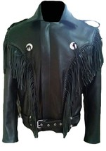 QASTAN New Cowboy Men's Black Western Cow Leather Biker Jacket Fringes FJ40 - $137.00