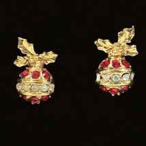 Vintage 1992 Designer Signed Avon Rhinestone Christmas Ornament Pierced Earrings - $16.79