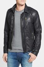 Mens Black Genuine Handmade Cowhide Leather Jacket Real Bespoke Leather - $118.79+