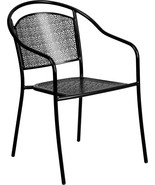 Commercial Grade Black Indoor-Outdoor Steel Patio Arm Chair with Round B... - $78.86