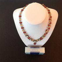 Avon Necklace Bracelet Earrings 3 Piece Set Signed Colored Stones 2002 Vintage image 3