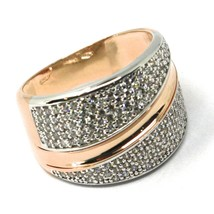 SOLID 18K ROSE WHITE GOLD BAND RING, ALTERNATE DOUBLE WAVES OF CUBIC ZIRCONIA image 1