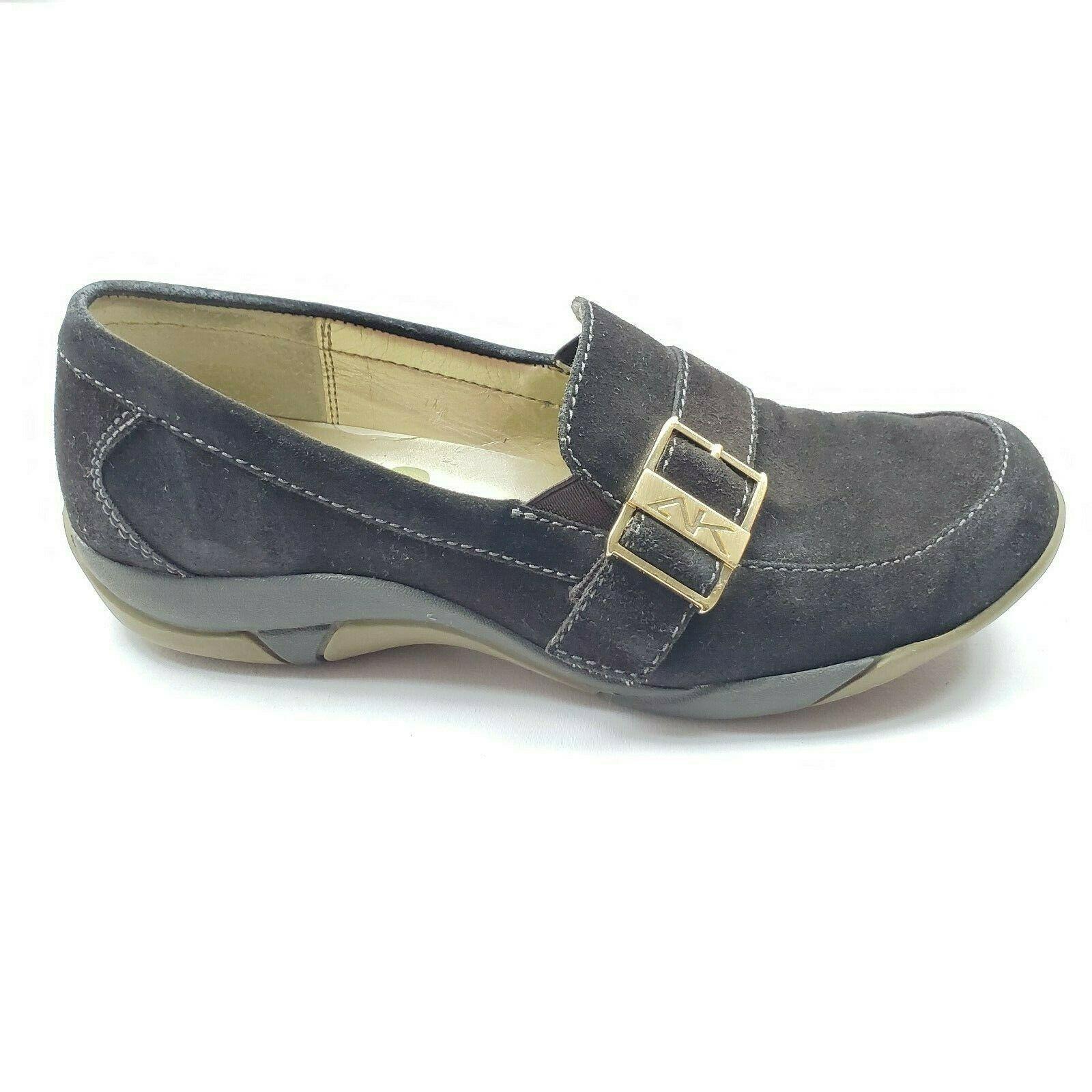 AK Anne Klein Loafers Brown Suede Gold Buckle Women's Size 8 - $17.34