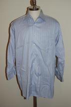 Robert Talbott Blue Striped Size 17- 42 Long Sleeve Dress Shirt See Meas... - €15,11 EUR