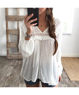 Womens Long Sleeve Chiffon Shirt Ladies Summer Loose Tops Cotton Blouse ... - $34.40