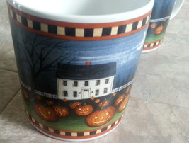 4 David Carter Brown Collection Pumpkin Hollow Set 2001 11 oz mug cup Ha... - $39.59