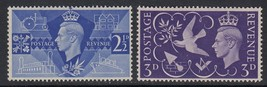 1946 Peace and Victory Set of 2 Great Britain Stamps Catalog Number 264-65 MNH