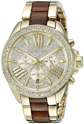 Primary image for NEW MICHAEL KORS MK6294 WREN GOLD & CHOCOLATE TWO TONE STEEL GLITZ WOMEN'S WATCH