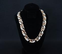 Trifari Pat Pend Choker Necklace Rhinestones Marquis Gold Tone Signed - $119.96