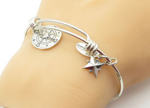 Primary image for 925 LA Silver - Vintage Star Compass Charmed Shiny Bangle Bracelet - B6407