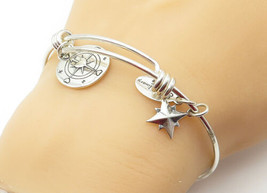925 LA Silver - Vintage Star Compass Charmed Shiny Bangle Bracelet - B6407 - $42.50