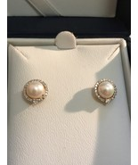 8mm Cultured Pearl Stud Earrings in 14kt Yellow Gold with Diamond accents - $274.95