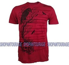 Affliction Branch Out A6898 Men`s New Red Graphic Fashion Skull T-shirt - $33.57