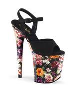 "PLEASER Flamingo-809WR 8"" Heel Sandals - Black Faux Suede/Flower Print Wrapped - $59.95"