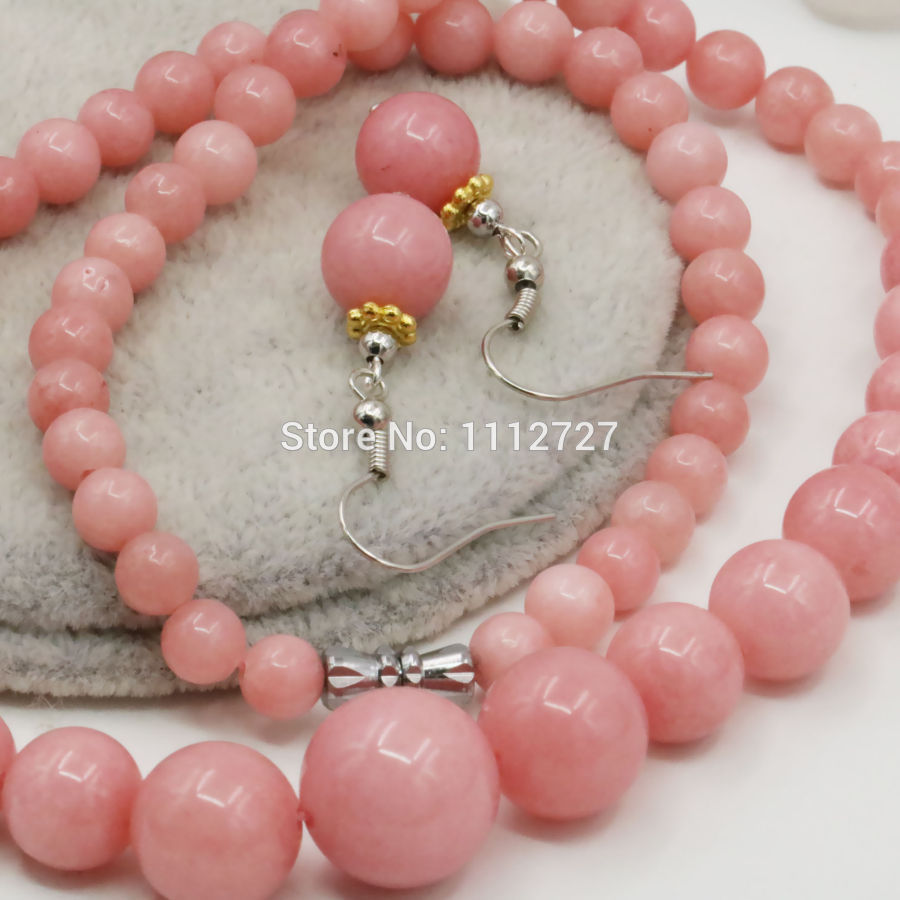 Primary image for 6-14mm Accessory Crafts Pink Lucky Stone Necklace Chain Earring Sets Round Beads