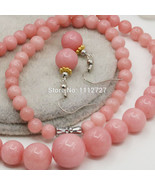 6-14mm Accessory Crafts Pink Lucky Stone Necklace Chain Earring Sets Rou... - $25.48