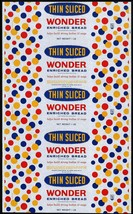 Vintage bread wrapper WONDER SOFT WHIPPED Continental Baking Rye New Yor... - $8.99