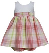 Bonnie Jean Baby Girl 3M-24M Coral Ivory Multi Plaid Rosette Waist Linen Dress