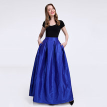 Women A-Line Ruffle Pleated Skirt Taffeta Fall Winter Long Pleated Holiday Skirt image 2