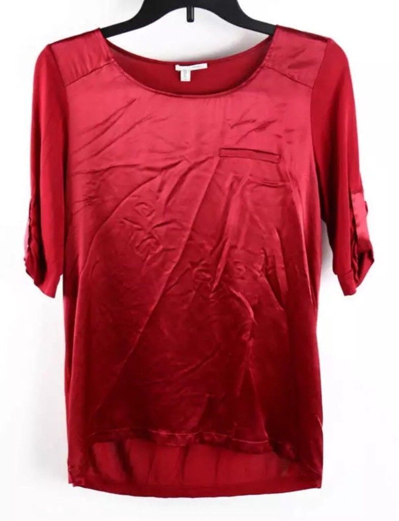 Halogen Ruby Red Shirred Short Sleeve Casual Silk Blouse Size Small