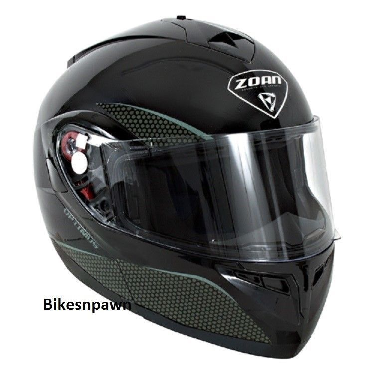 New XS Zoan Optimus Gloss Black Modular Motorcycle Helmet 038-013