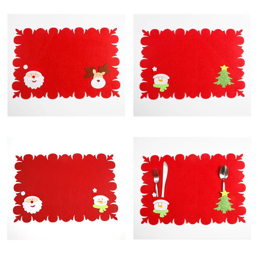 (01)Christmas Table Mats Fork Sets of Dual-use Non-woven Fabric Table Mats Chris
