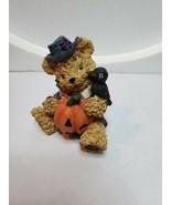 Boyd's Bearstone Friends Resin Teddy Figurine Halloween Top Hat Crow Pum... - $19.80
