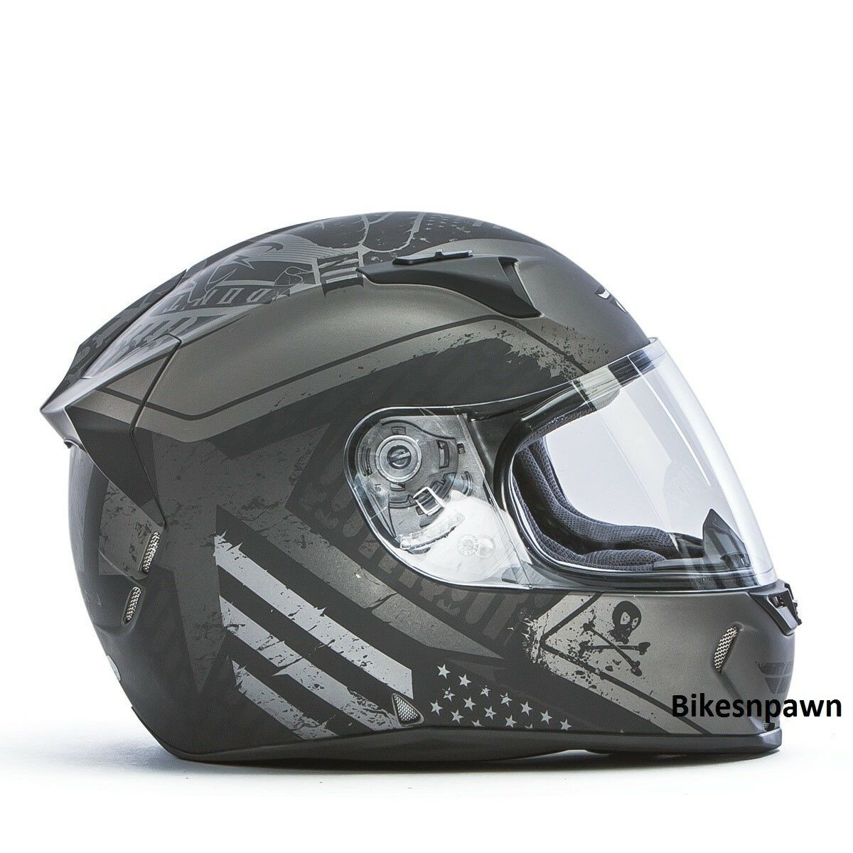 New XL Fly Racing Revolt FS Cycle Helmet Flat Grey/Black Patriot DOT & Snell