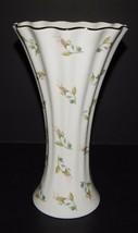 "Gorham Fine China Pink Rosebud Lady Anne 10"" Fluted Vase Platinum Trim  - $36.62"