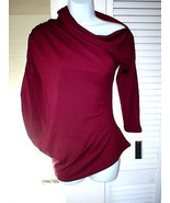 New Womens Josie Natori Asymmetric Top S NWT Dark Red Brick Ruched Sleev... - $403.00