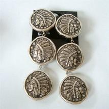 Mary DeMarco La Contessa Indian Head Coin Earrings Dangle Electroform Si... - $29.68