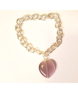 purple glass heart silver chain bracelet womens handmade jewelry - $5.99