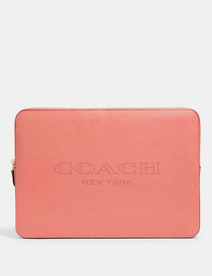 "Primary image for New Authentic Coach 15"" Laptop Case Sleeve with Coach Print Bright Coral New"