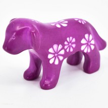 Vaneal Group Hand Carved Kisii Soapstone Fuchsia Standing Puppy Dog Figurine image 2