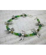"""DRAGONFLY ANKLET 9.5""""  SHOE JEWELRY green beads - $16.82"""