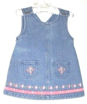 GIRLS BLUE JEAN POCKET OVERALL DRESS SIZE 12 MOS. - $3.50