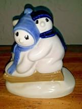 VINTAGE Christmas 1996 WADE Porcelain FIGURINE SnowChildren SNOWMEN SLED - $29.69