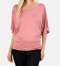 Dolman Sleeve Tops, Dolman Top with Banded Bottom, Dusty Rose, Colbert Clothing
