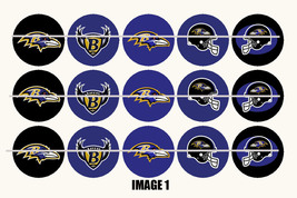 Printed Precut BALTIMORE RAVENS inspired 1 inch images for bottlecaps, c... - $2.00