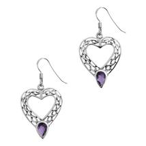 Celtic Eternity Knotwork Sterling Silver Love Heart Earrings with Amethyst - $24.76