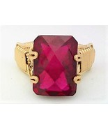 Faceted Lab Ruby Gold Wire Wrap Ring sz 8.5 - $43.00