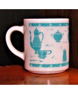 Vintage Hazel Atlas Milk Glass Turquoise Kitchen Aids Stacking Mug - $10.50