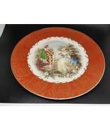 22 Karrot American Cabinet Plate Burnt Orange gilt romantic couple scene... - $20.00