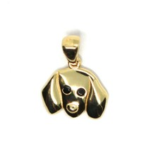 18K YELLOW GOLD MINI PENDANT, DACHSHUND DOG, SMOOTH BLACK ZIRCONIA MADE IN ITALY image 2