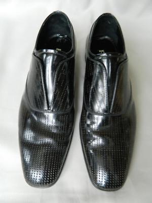 Prada Dress Shoe Laceless Perforated Black Polished Leather 7 1/2 8 1/2 US Mint