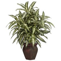 Nearly Natural 6673 Aglaonema with Vase Decorative Silk Plant, Green - $67.07