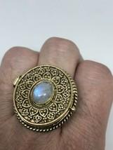 Vintage Tribal Tibet Genuine Rainbow Moonstone Adjustable Brass Poison B... - $75.39