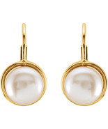 14K Yellow Gold 7.5mm Cultured Pearl Leverback Earrings - $169.99